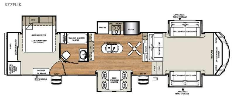 Floorplan - 2017 Forest River RV Sandpiper 377FLIK