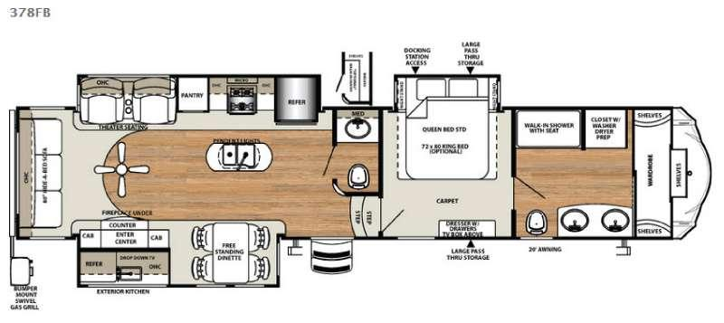 Floorplan - 2017 Forest River RV Sandpiper 378FB
