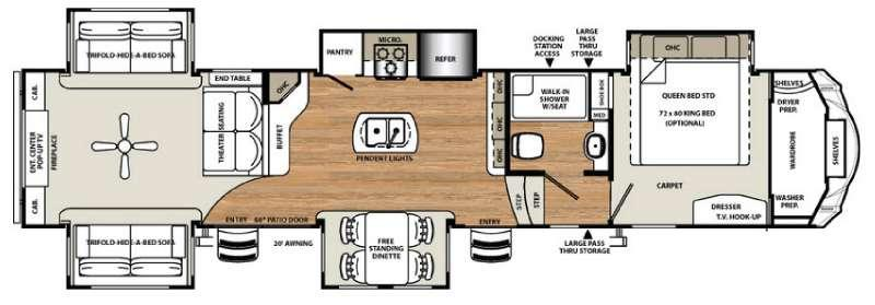 Floorplan - 2017 Forest River RV Sandpiper 389RD