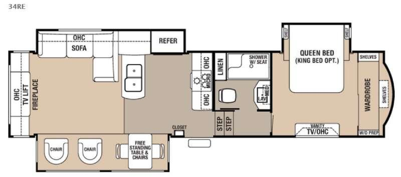 Cedar Creek Hathaway Edition 34RE Floorplan Image
