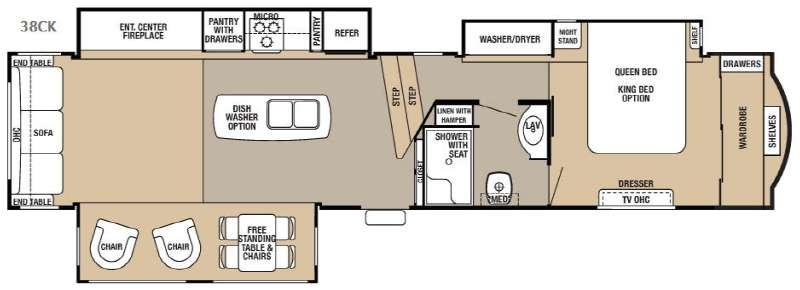 Floorplan - 2017 Forest River RV Cedar Creek Hathaway Edition 38CK
