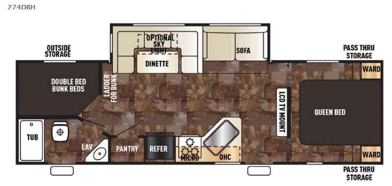 Floorplan - 2017 Forest River RV Cherokee 274DBH