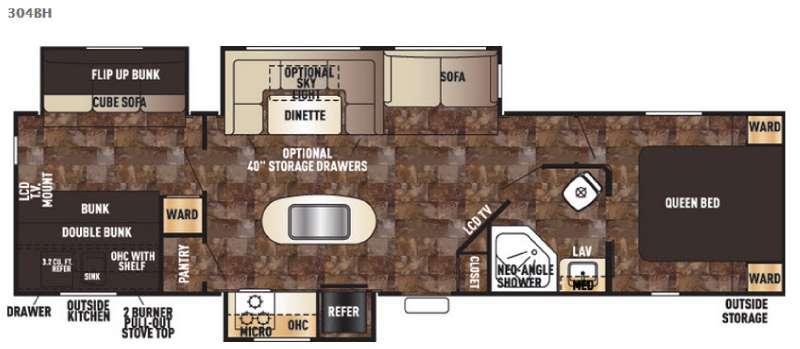 Cherokee 304BH Floorplan