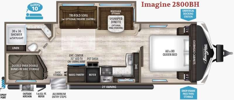 Floorplan - 2017 Grand Design Imagine 2800BH
