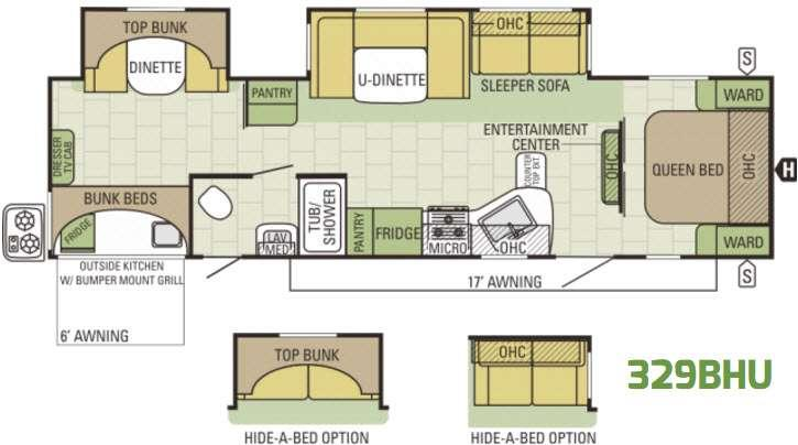 Autumn Ridge 329BHU Floorplan Image