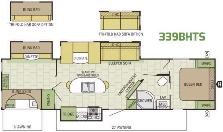 Autumn Ridge 339BHTS Floorplan Image