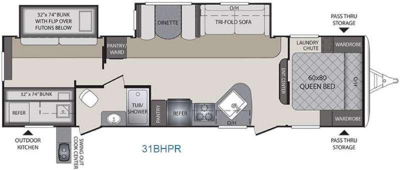 Premier Ultra Lite 31BHPR Floorplan Image