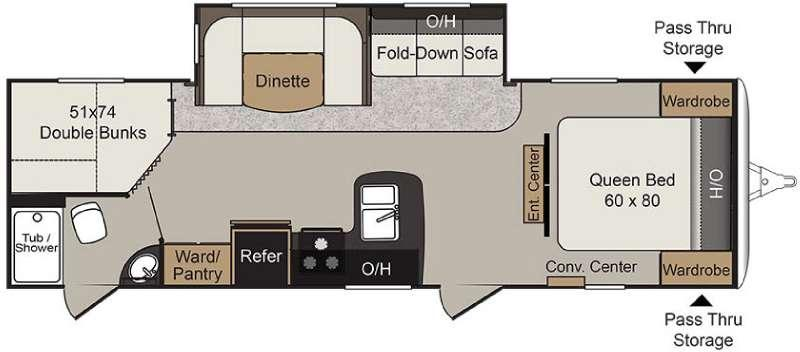 Floorplan - 2017 Passport 2810BHWE Grand Touring Travel Trailer