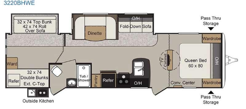 Passport 3220BHWE Grand Touring Floorplan Image