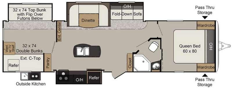 Floorplan - 2017 Keystone RV Passport 3320BH Grand Touring