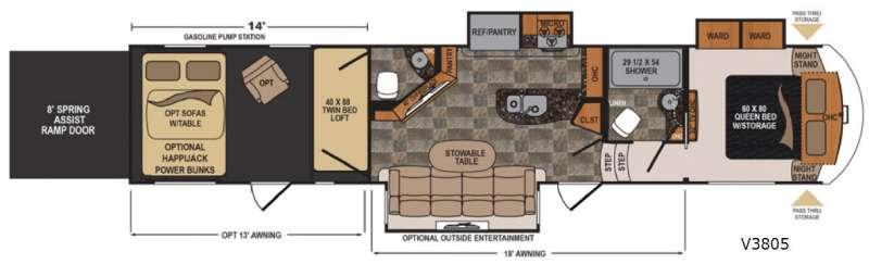 Floorplan - 2017 Dutchmen RV Voltage V-Series V3805