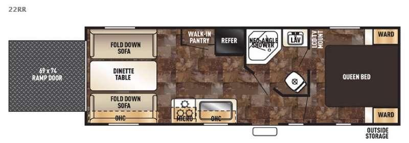 Floorplan - 2017 Forest River RV Cherokee Grey Wolf 22RR