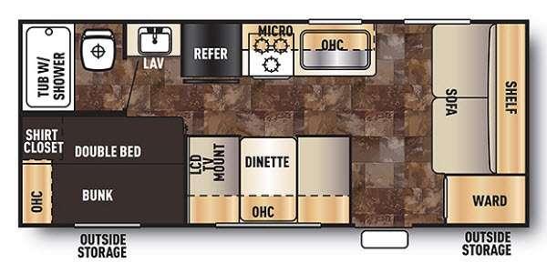 Cherokee Grey Wolf 17BH Floorplan Image
