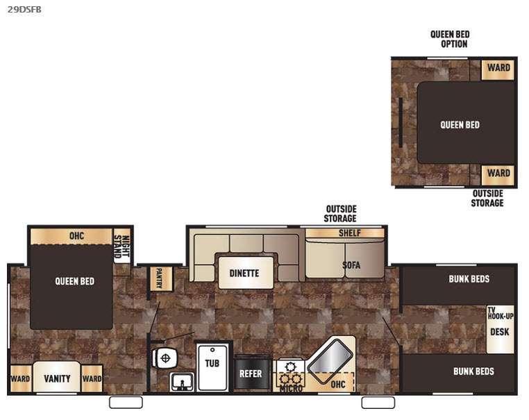 Cherokee Grey Wolf 29DSFB Floorplan Image