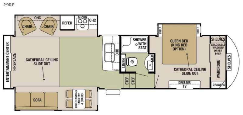 Cedar Creek Silverback 29RE Floorplan Image