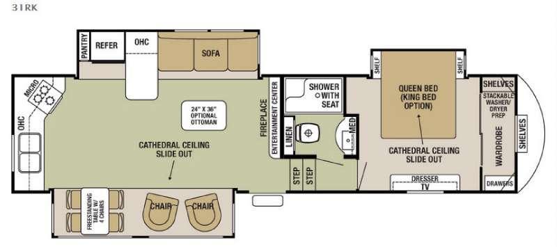 Cedar Creek Silverback 31RK Floorplan Image