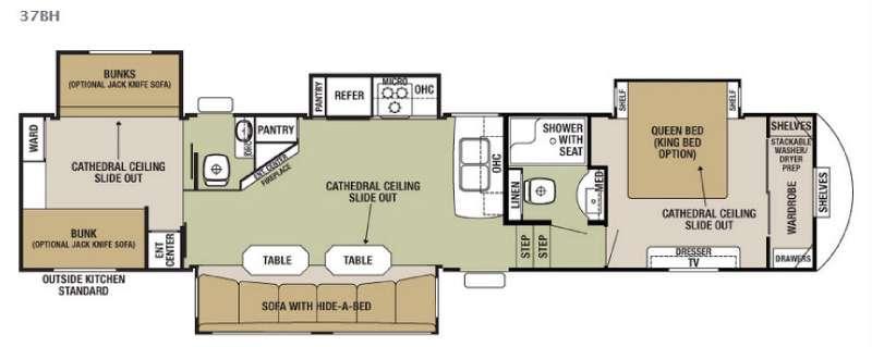 Cedar Creek Silverback 37BH Floorplan Image