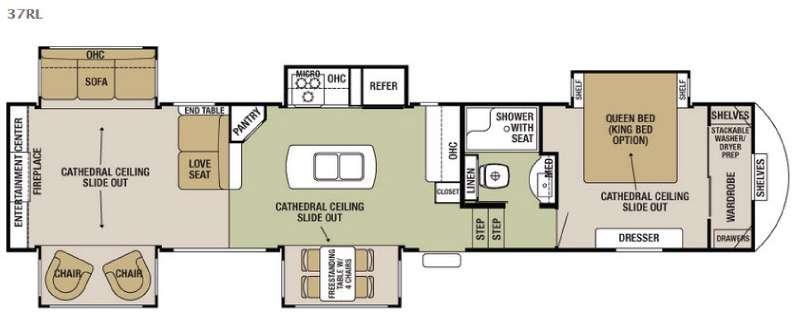 Cedar Creek Silverback 37RL Floorplan Image