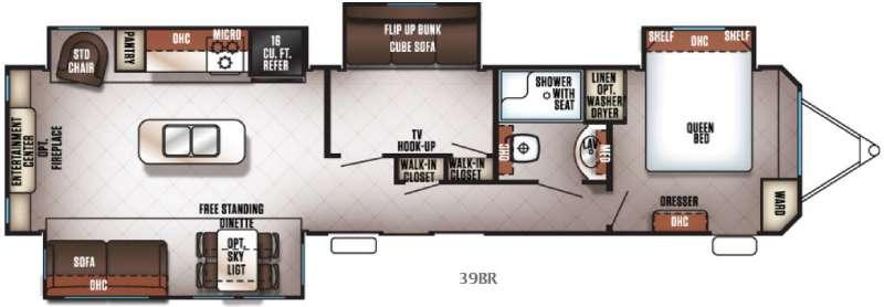 Cherokee Destination Trailers 39BR Floorplan Image