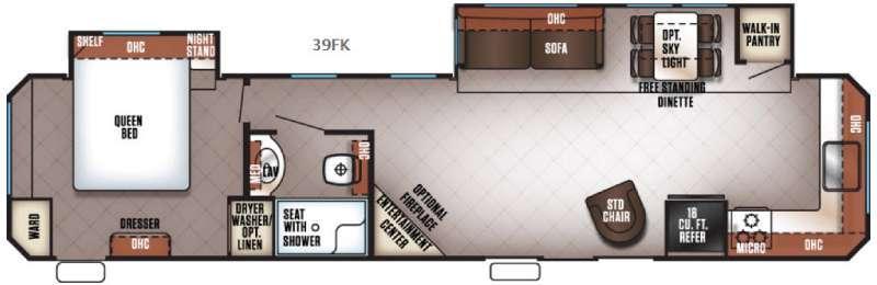 Cherokee Destination Trailers 39FK Floorplan Image