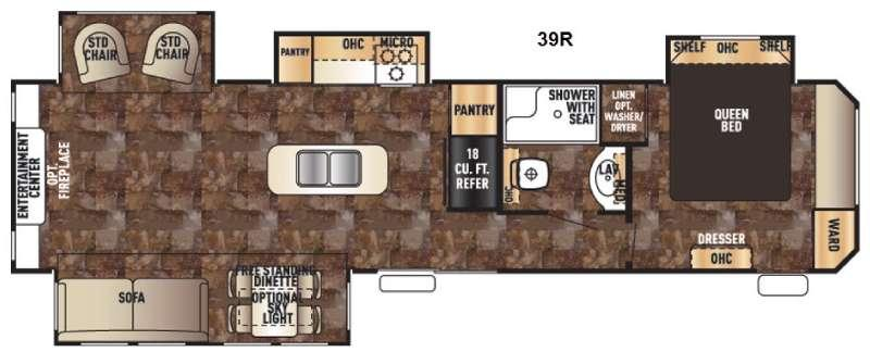 Cherokee Destination Trailers 39R Floorplan Image