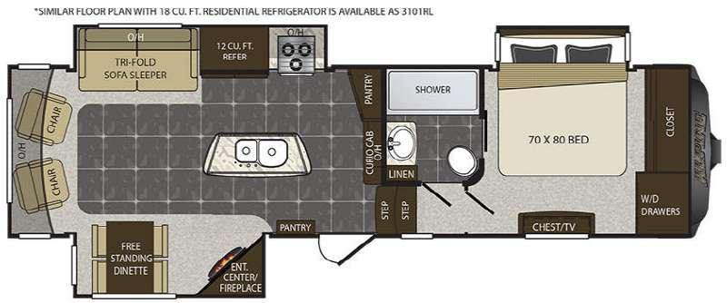 Floorplan - 2017 Keystone RV Alpine 3100RL