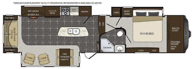 Alpine 3601RS Floorplan Image