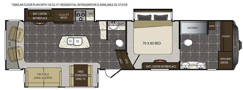 Floorplan - 2017 Keystone RV Alpine 3730FB