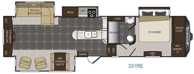 Avalanche 331RE Floorplan Image