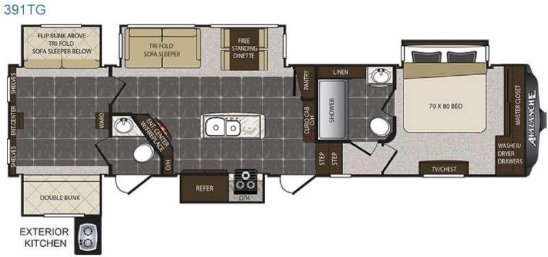 Floorplan - 2017 Keystone RV Avalanche 391TG