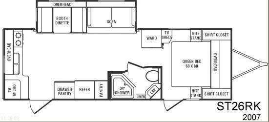 Floorplan - 2007 CrossRoads RV Sunset Trail 26RK