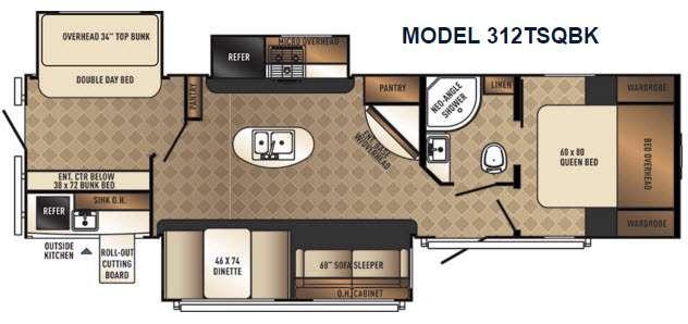 Floorplan - 2017 Palomino SolAire Ultra Lite 312TSQBK