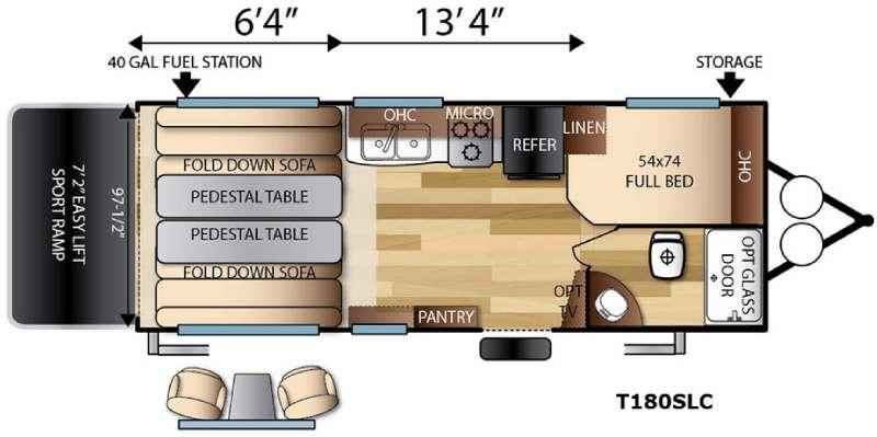 Floorplan - 2017 Forest River RV Sandstorm T180SLC