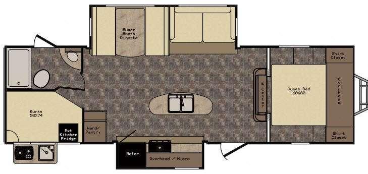 Floorplan - 2017 CrossRoads RV Maple Country MC28BH