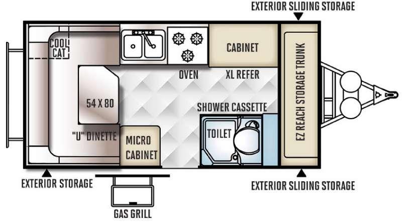 Floorplan - 2017 Flagstaff Hard Side High Wall Series 19SCHW Folding Pop-Up Camper