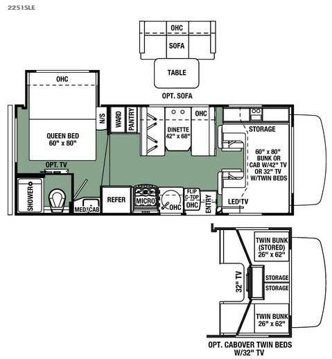 Floorplan - 2017 Forest River RV Forester LE 2251SLE Ford