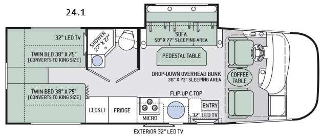 Floorplan - 2017 Thor Motor Coach Axis 24.1