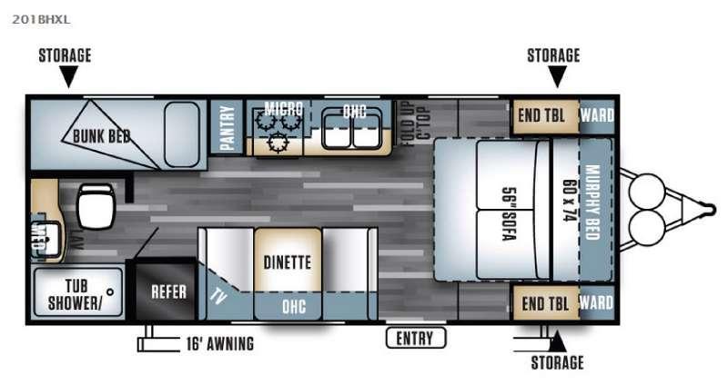 Floorplan - 2017 Forest River RV Salem Cruise Lite 201BHXL
