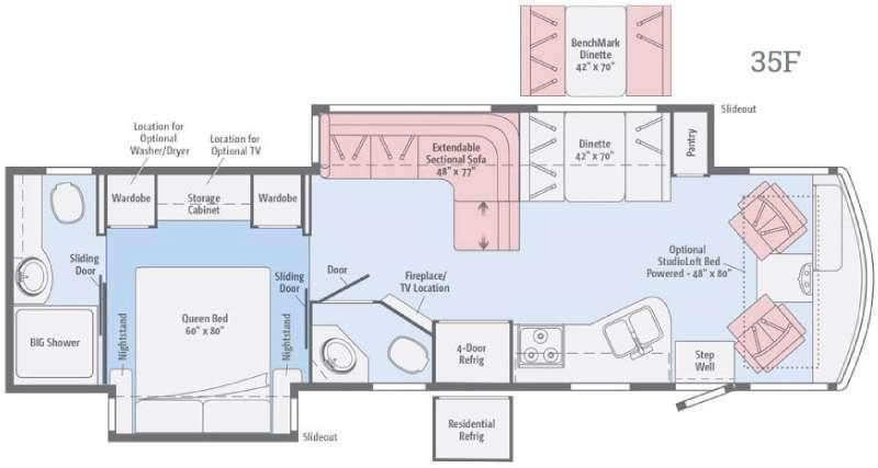 Floorplan - 2017 Winnebago Vista LX 35F