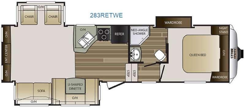Floorplan - 2017 Keystone RV Cougar Half-Ton Series 283RETWE