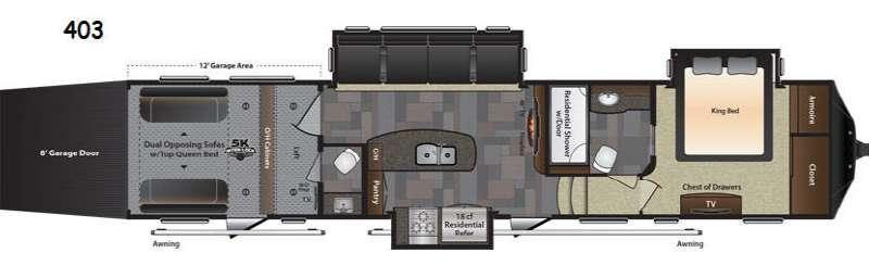 Floorplan - 2017 Keystone RV Fuzion 403 Chrome