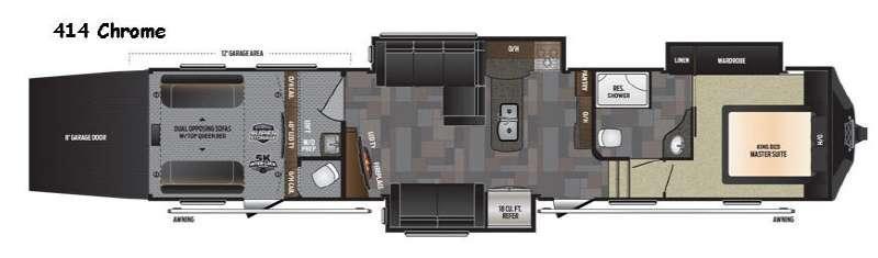 Floorplan - 2017 Keystone RV Fuzion 414 Chrome