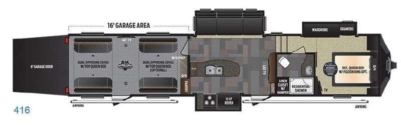 Floorplan - 2017 Keystone RV Fuzion 416