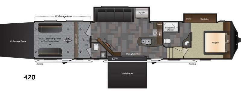 Floorplan - 2017 Keystone RV Fuzion 420 Chrome