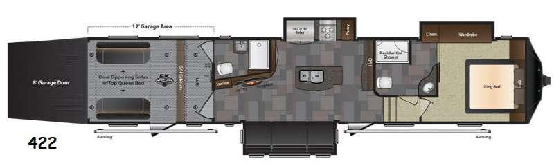 Floorplan - 2017 Keystone RV Fuzion 422 Chrome