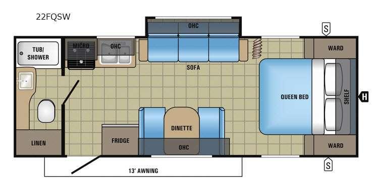 Jay Feather 22FQSW Floorplan Image