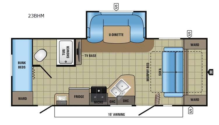 Floorplan - 2017 Jayco Jay Feather 23BHM