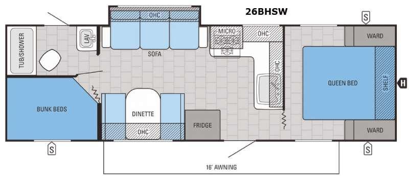 Jay Feather 26BHSW Floorplan Image