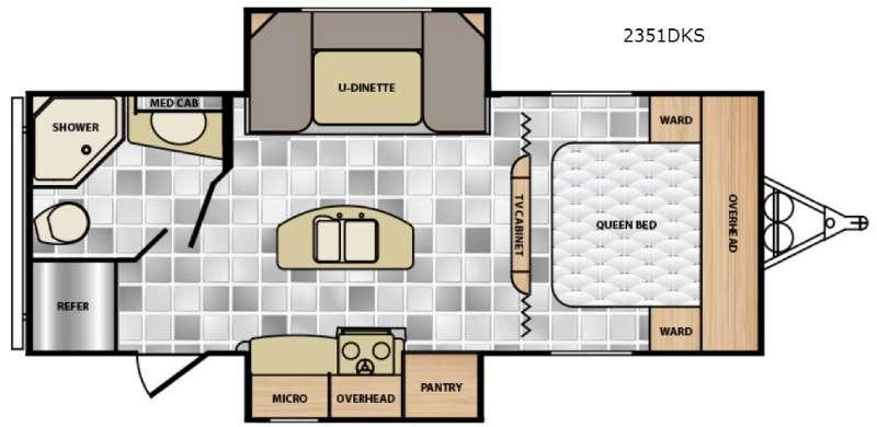 Floorplan - 2017 Winnebago Industries Towables Minnie 2351 DKS