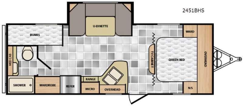 Floorplan - 2017 Winnebago Industries Towables Minnie 2451 BHS